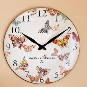 Mackenzie Childs Butterfly Garden Clock new box